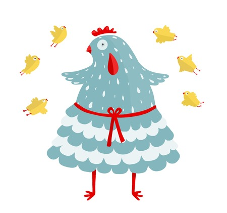Funny Mom Hen and her Yellow Chicken Blue hen bird and her children  Vector