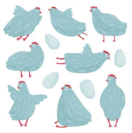 amuse: Funny Hen Poses and Eggs Collection Hen birds in different poses set drawing  Vector   Illustration