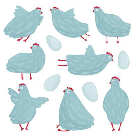 gallina con huevos: Poses funny gallina y aves de gallina Huevos de recolección en diferentes poses establecen dibujo vectorial Vectores