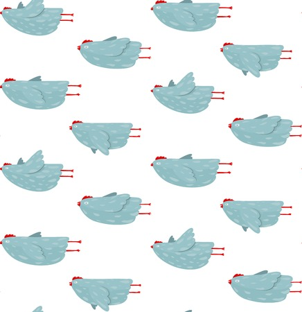 Funny Hen Flying Seamless Pattern Background Hen birds flight in different poses pattern  Vector  Illustration