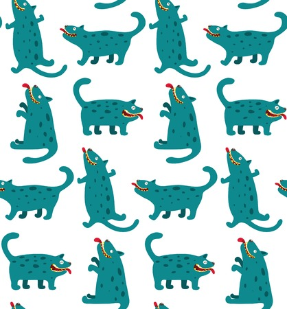 Cartoon Monster Dogs Seamless Pattern Fun and mad monster dogs    Vector