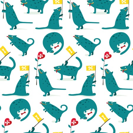 naive: Cartoon Monster Dogs Seamless Pattern Fun and mad monster dogs