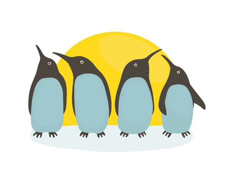 sun illustration: Penguins and Sun Illustration of penguins birds standing