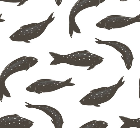 fishy: Fish Black and White Seamless Pattern Fishy shoal marine pattern illustration