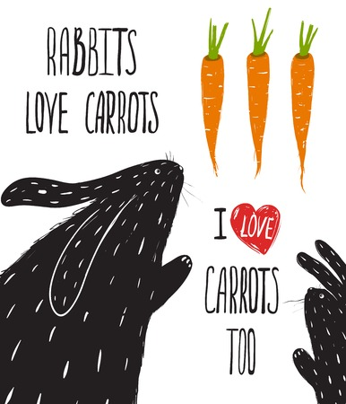 Scratchy Rabbits Love Carrots Lettering  Rabbits and carrots illustration and lettering  Vector EPS8  Vector