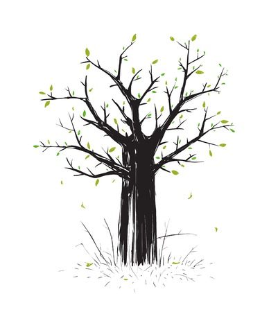 scratchy: Scratchy Scribble Tree in Black Silhouette  Sketchy  freehand tree drawing  Vector EPS8 illustration  Illustration