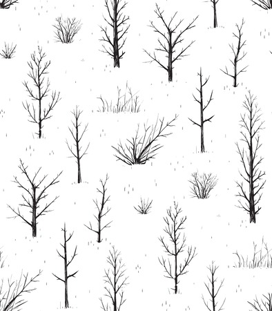 scratchy: Scratchy Trees Black Silhouettes Seamless Pattern  Sketchy background of freehand trees drawing  Vector EPS8 illustration  Illustration