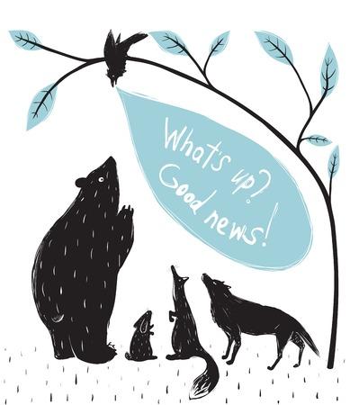 Forest Animals News Meeting  Bear fox wolf rabbit crow illustration in black  Vector EPS8