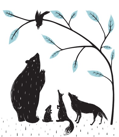 crow: Forest Animals News Meeting  Bear fox wolf rabbit crow illustration in black  Vector EPS8