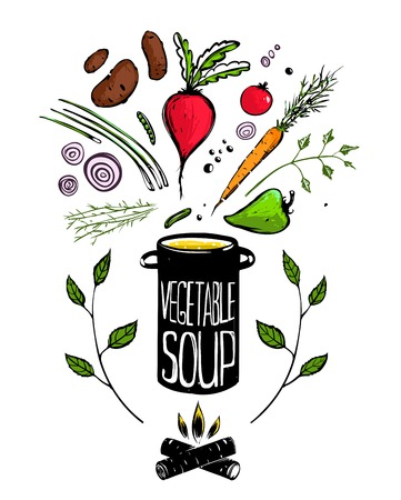 soup pot: Cooking Vegetable Soup Food   Illustration