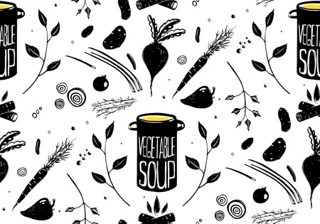 Seamless Pattern Vegetable Soup in Black  Vector