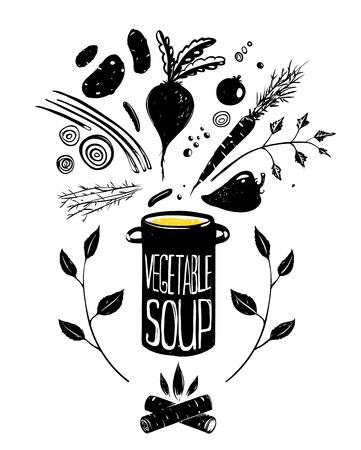 Cooking Vegetable Soup Food in Black   Vector