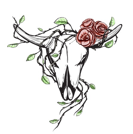 Cow Skull with Romantic Roses Tattoo  Animal skull with roses drawing Vector