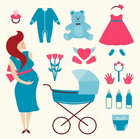 baby clothes: Pregnant Young Woman and Baby Clothes  Flat simple illustration of pregnant woman   Illustration