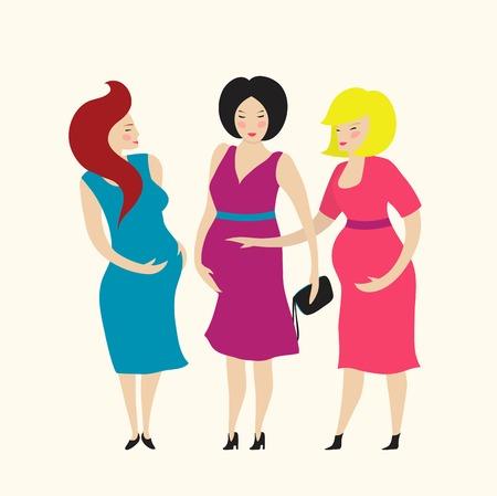 fiatal nők: Három fiatal terhes nő barátai Flat Egyszerű illusztráció nő club