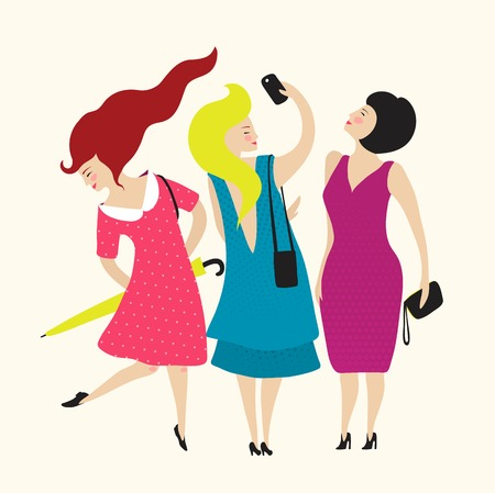 Three Young Women Friends Club  Flat simple illustration for woman club   Vector