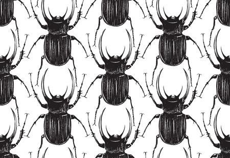 tileable: Black Beetle Insect Seamless Pattern  Black bugs tileable background illustration