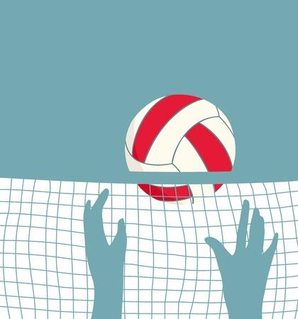 SpeelVolleyball met Net Volleybal spel achtergrond Stock Illustratie