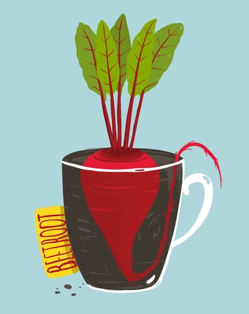 vegetable gardening: Growing Beetroot with Green Leafy Top in Mug
