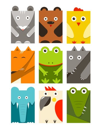 cartoon bear: Flat Childish Rectangular Animals Set  Animals design collection  Vector layered EPS8 illustration