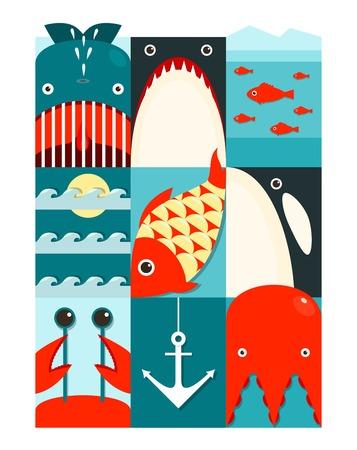 killer waves: Flat Sea and Fish Rectangular Nautical Set  Marine design collection  Vector layered EPS8 illustration
