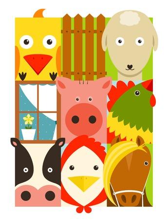 cattle grid: Flat Childish Rectangular Cattle Farm Animals Set  Animals design collection  Vector layered EPS8 illustration