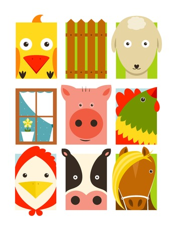 cattle grid: Flat Childish Rectangular Cattle Farm Animals Set  Animals design collection  Illustration