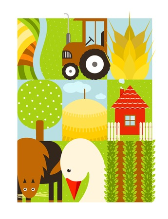 cattle grid: Flat Childish Rectangular Agriculture Farm Set  Country design collection
