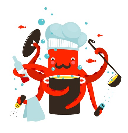devil fish: Red Octopus Chef Cooking Food  Cook profession character   Illustration