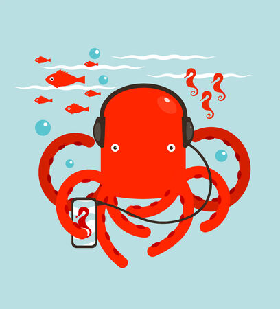 listener: Red Octopus Listening to Smartphone Music  Underwater headphones listener