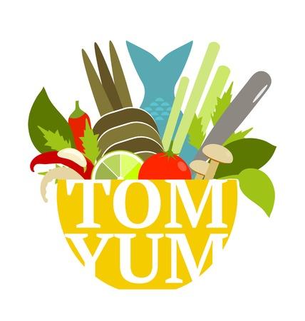 thai herb: Tom Yum Soup Food Set  Asian spicy seafood dish   Illustration