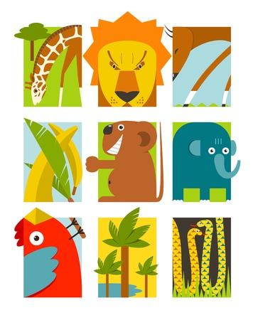 gazelle: Flat African Animals Symbols Set  Giraffe lion elephant toucan gazelle palm  Vector illustration EPS8