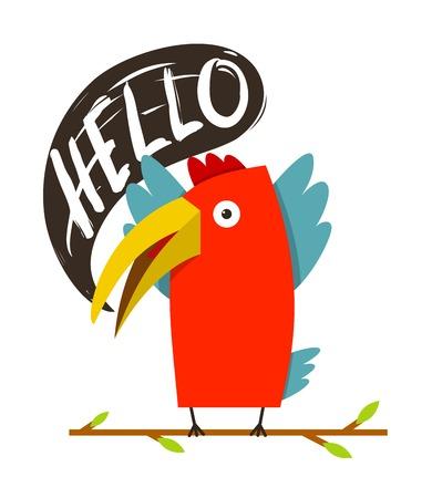 say hello: Toucan Bird Saying Hello  Red bird with speech bubble  Vector illustration EPS8 Illustration