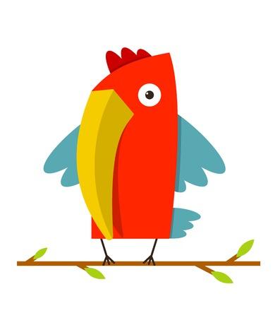 beak: Toucan Bird with Big Beak Standing  Colorful cartoon exotic red bird  Vector illustration EPS8 Illustration