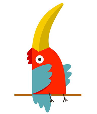Toucan Bird with Big Beak Sitting  Colorful cartoon exotic red bird  Vector illustration EPS8 Illustration