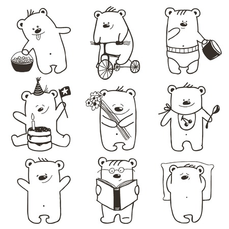 Cartoon Baby Bears in Action Collection. Nine hand drawn  simple childish bears set.  Vector
