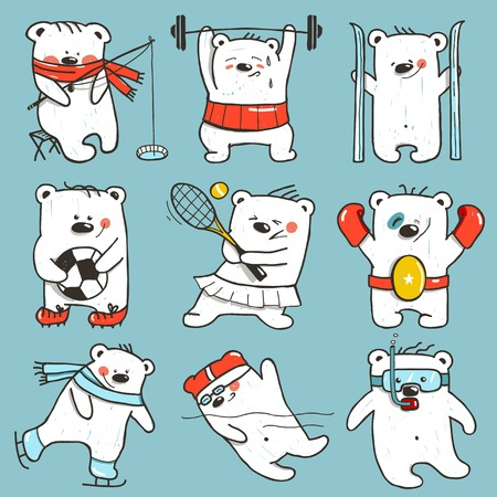 Cartoon Sport Bears in Action Collection.  Vector