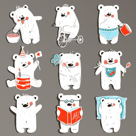 bear berry: Cartoon White Baby Bears in Action Collection.