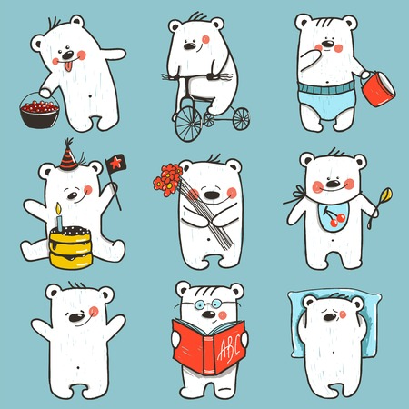 Cartoon Baby Bears in Action Collection.  Vector