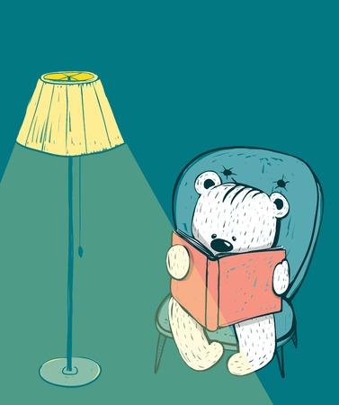 Cartoon Baby Bear Reading a Book.