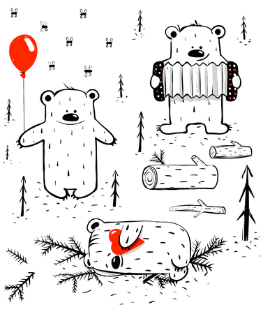 Three Cartoon Bears Sleeping and Playing.  Vector