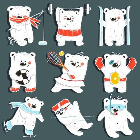 powerlifting: Cartoon Sport Bears in Action Collection. Cartoon Sport Bears in Action Collection Illustration