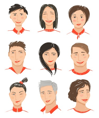 Men and Women Hand Drawn Face Avatars Set. Men and Women Hand Drawn Face Avatars Set Vector