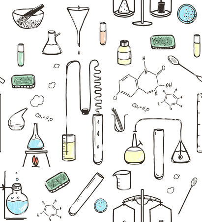 chemical laboratory: Chemical Laboratory Seamless Pattern. Chemical Laboratory Seamless Pattern
