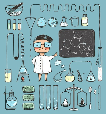 chemists: Young Girl Chemist and Laboratory Tools Collection. Young Girl Chemist and Laboratory Tools Collection