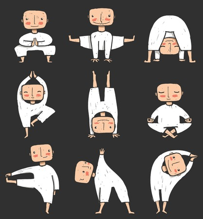 Man doing Yoga Asana Collection Healthy lifestyle illustration. Vector EPS8 on dark background. Vector