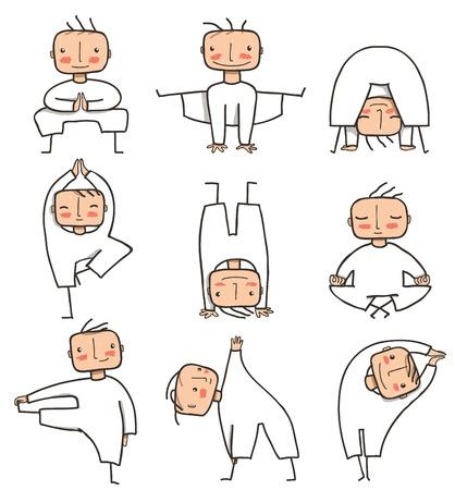 Comic Yoga Man Collection Doing healthy yoga poses person. Vector EPS8.