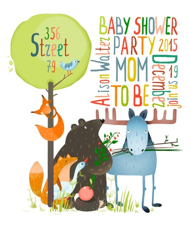Baby Shower Invitation. Brightly colored childish card. Vector illustration EPS8. Vector