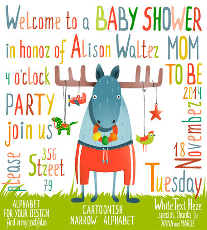 Baby Shower Invitation with Animal. Brightly colored childish moose card. Vector