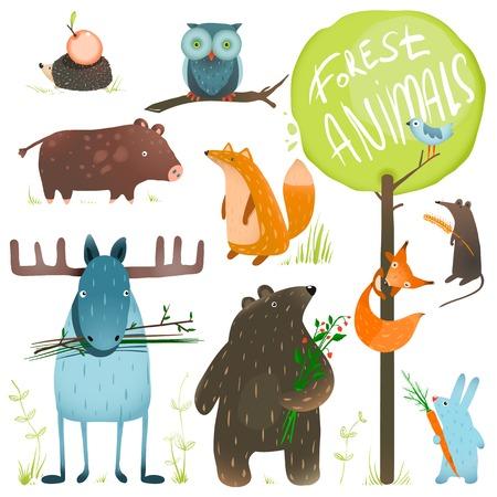 動物: 卡通森林動物套裝。顏色鮮豔的幼稚動物。